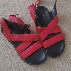 Red Leather Topshop Sandals